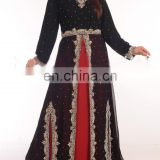 FANCY MOROCCAN CAFTAN ISLAMIC WEDDING GOWN IN BLACK COLOR FOR WOMEN