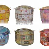 Embroidery Work Ottoman Cotton Pouf Cover Patchwork Living Room Ottoman Cover wholesale Indian Handmade Home Decor art