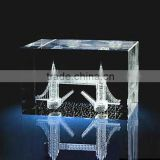 Famous building 3D image laser engraved crystal glass cube