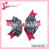 2013 Hot selling girls zebra-strips print eco-friendly grosgrain ribbon hair bow with metal clip (DW-0055)