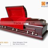 MAGISTRATE RED Solid Mahogany wood Casket coffin prices zinc