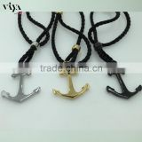 black rope leather with steel/gold/black plated anchor modern bracelet unisex jewelry alibaba arabic jewelry