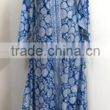 Designer Cotton Hippie Dress Block Printed Women Long Dress Floral Long Tunic Umbrella Dress Bias Dress Blue Bell Dress