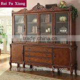 Classic country style wood book cabinet with four glass doors and drawers and carvings AI-213