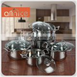 SS201 material 10pcs stainless steel cooking pot set with glass cover & calculated bottom