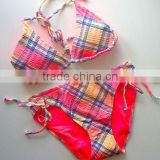 Sweet Tie Plaid Halter Bikini Padded Sexy Swimwear