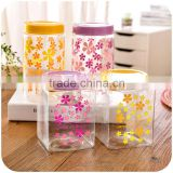 2015 COLOR RANDOM square plastic bottles with lid storage container plastic jar can mason jar packing food/candy/nut/spices