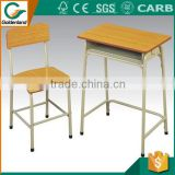 College adjustable school desk and chair made of steel pipe