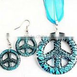 Handmade Silver Foil Glass Peace Symbol Earrings and Necklace Jewelry Sets, Peace Sign, Cyan(FOIL-C583-4)