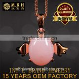 angel pendant 925 silver 18K gold plated natural pink opal precious gemstone pendant necklace wholesale jewelry from dubai