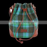 New arrival good quality checked pattern tweed drawstring bag