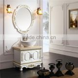 2015 classical solid wood bathroom furniture/bathroom vanity cabinet with mirror and basin