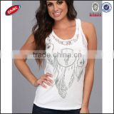 bulk sequin embellishment womens tank top with a lace trim at collar and arm openings