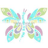 Sweet colorful Butterfly Rhinestone transfer For Tshirts