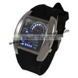 Men's Watches Blue & Black Flash LED Military Watch Brand Sport Car Meter Dial digital wristWatch for Men