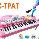 37 key multi-function electronic musical electronic piano with microphone toy for kids, dongguan instrument toy