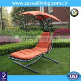300lbs Max Weight Capacity Hanging Chaise Lounger Chair with Umbrella Garden Air Porch Arc Stand Swing Hammock Chair Orange