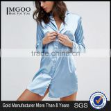 MGOO Manufacturing Custom US Global Brand Sleepwear Wolf & Whistle Satin Daddy Night Shirt Blue Satin Pajama Soft fabric