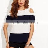 APPAREL Color Block Open Shoulder T-shirt LINEN T SHIRT