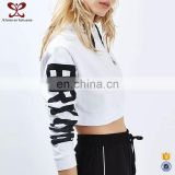 2016 Winter 100% Cotton Hoodies Blank Pullover Pure Color Short Printed Wholesale Plain White Hoodies For Lady