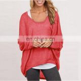 2016 wholesale women casual long sleeve knitted plain pure color t shirt