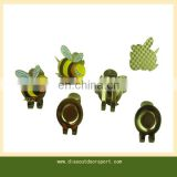 Bee design golf cap clip with ball marker
