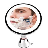Plastic Round LED light swivel portable make up mirror Suction Cup Mirror