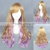 High Quality 65cm Medium Long Wave Blond&Purple Color Mixed Lolita Wig Synthetic Anime Wig Cosplay Hair Wig Party Wig
