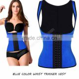 2016 Factory Price Blue Women Sports Latex colombian Waist Cincher Vest Body Shaper For Girls