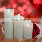 Moving wick battery operated flameless candle with timer and remote lifetime guarantee