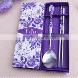 Wholesale Stainless steel Purple Flower spoon and chopstick sets for Wedding Presents and Party Keepsake
