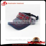 Custom denim embroidery distressed women sun visor