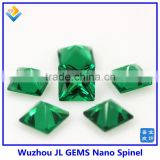 synthetic square green emerald loose Nano Spinel stone