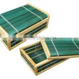 rectangular bamboo box with lid and wooden frame