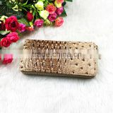 High Quality Brown Wrinkle PU Leather Rivets Decoration Long Wallet For Women With Zipper