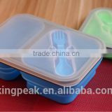 Best Selling Collapsible Silicone Food storage Containers/Leakage Proof Lunch Bento Box/bento lunch box with dividers with fork