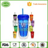 Wholesale Double Wall Insulated Plastic Tumblers Cups with Lid Straw at competitive price