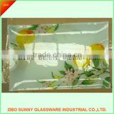 HOT SALE!Square shape glass plate /tempered glass trays,decal or clear.