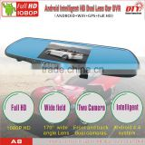 DTY car reversing camera with rearview mirror,car mirror gps camera,android system car dvr ,A8
