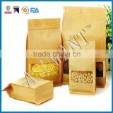 Zip Eight edge-sealing packaging flat bottom paper Kraft bag with window and zip lock                                                                         Quality Choice