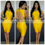 Marvelous Gorgeous Splendid and Posh yellow open back bandage dress