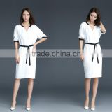 Women's Small V Neck Drop Midi Sleeve Black&White Trimming Dress Knee Length Straight Dress