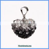 Wholesale Clay Pave Rhinestone Heart Shape Pendants Charms For Making Jewelry CPP-H001A