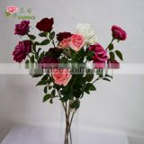 3 heads open fake giant artificial rose flower shop sale directly velvet fabric lifelike