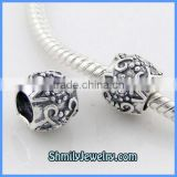 Wholesale Classic Flower Pattern With CZ Sterling Silver Jewelry Charm Beads BCZ12