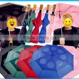 MONO color Air Vented Folding umbrella Double Canopy have Hole wooden handle Double Layer 2 Fold Umbrella