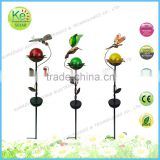 Color ball dragonfly with metal stake led solar garden decoration light