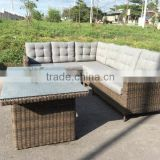 POLY RATTAN SOFA SET OUTDOOR GARDEN/ LATEST DESIGN SOFA SET/ SOFA (5pcs) (1 Left bench+1 Right bench+1 Middle+1 corner+1 table)