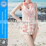 Domi fashion floral beach cocktail dress photos open young girls hollow out beach dress