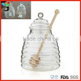 Depression Covered Glass Container Different Size Stripe Pattern Bee Glass Honey Pot With Dipper